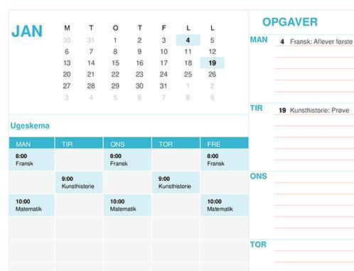 Kalender til studerende (man)
