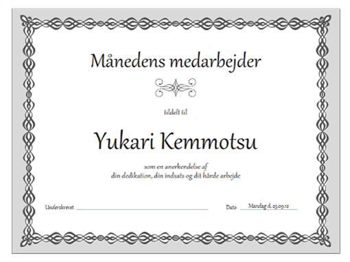 Certifikat, månedens medarbejder (design med grå kæde)