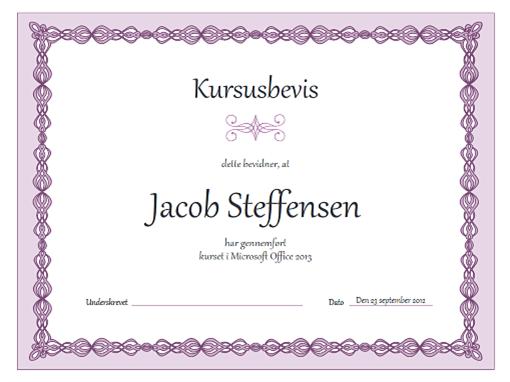 Kursusbevis (design med lilla kæde)