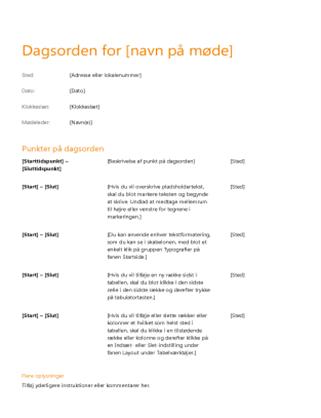 Dagsorden for forretningsmøde (orange design)