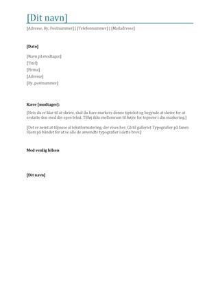 Brevhoved med fed formatering