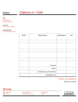 Erhvervsfaktura (Rødt og sort design)