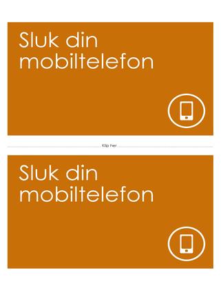 Påmindelsesplakat om at slukke mobiltelefonen (orange)