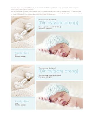 Meddelelse om nyfødt dreng