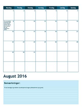 Studiekalender for en måned (start mandag)