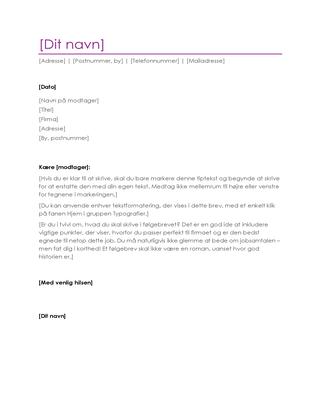 CV-følgebrev (violet)