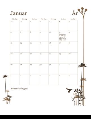 12-månedskalender (man-søn)