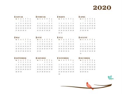 Årskalender for 2018 (man-søn)