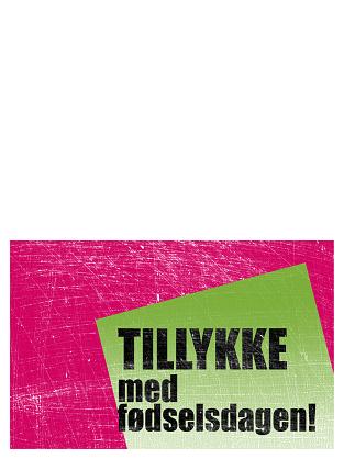 Fødselsdagskort, skraveret baggrund (pink, grøn, midterfold)