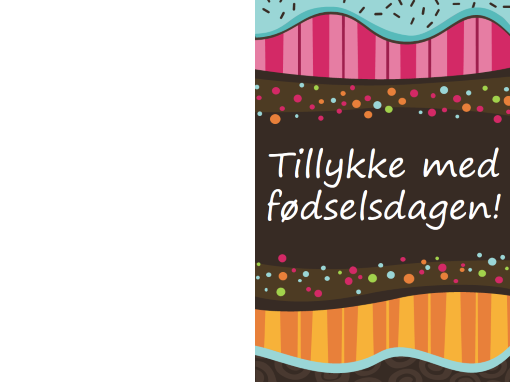 Fødselsdagskort – prikker og striber (børn, foldet på midten)