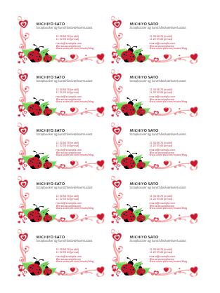 Visitkort (mariehøner og hjerter, venstrejusteret, 10 pr. side)
