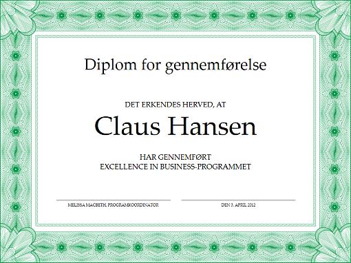 Diplom for gennemførelse (grøn)
