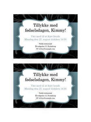Festinvitationer (design med blåt bånd, 2 pr. side)