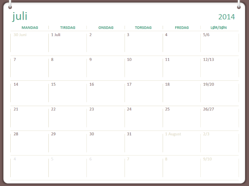 Studiekalender for 2014-2015 (juli - juni)