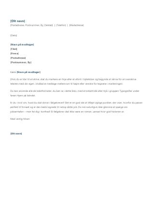 Følgebrev til ansøgning om praktikplads