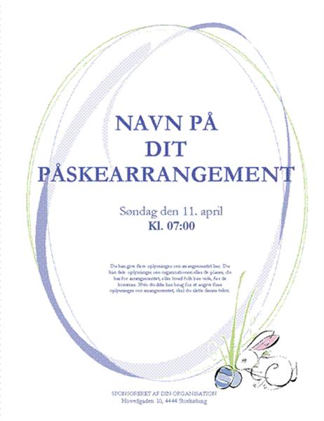 Løbeseddel til påskearrangement (med kanin)