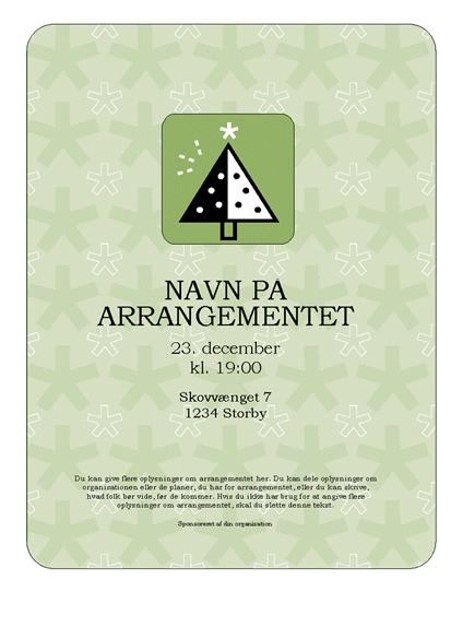 Løbeseddel for feriearrangement (med grønt træ)