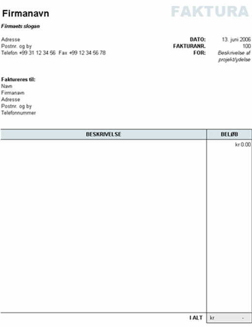 Faktura med beregning af samlet beløb