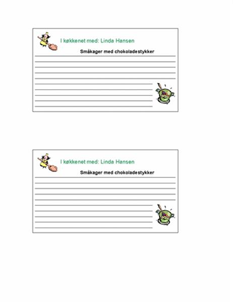 Opskrifter (personlige, 2 sider)