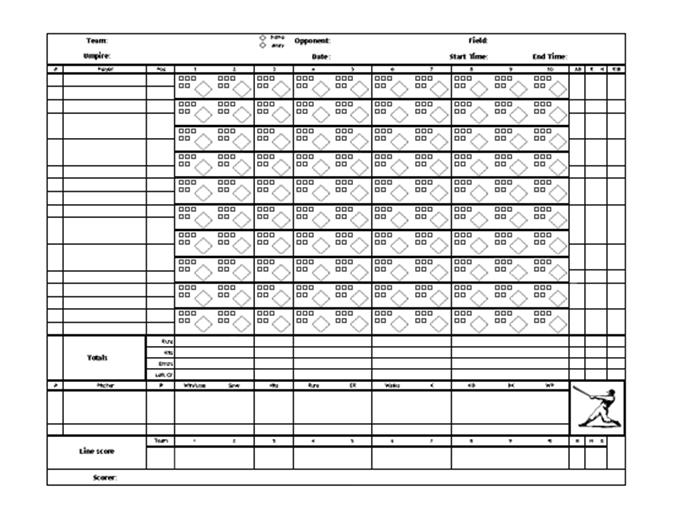 Scorekort til baseball med pitch-tæller
