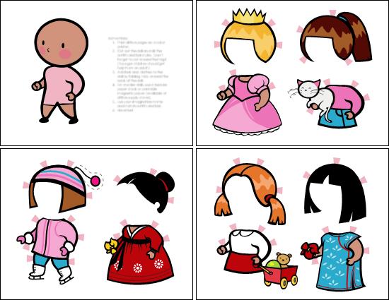 Påklædningsdukker (pige, sæt 2)