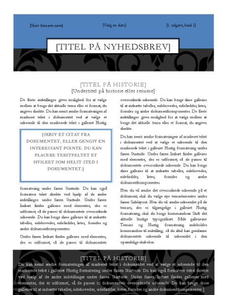 Nyhedsbrev (designet Sort slips)