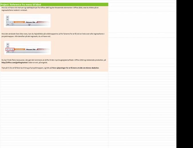 Project 2010: projektmappe med referencer fra menuerne til båndet