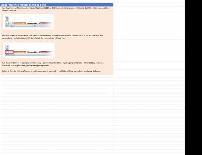 Visio 2010: projektmappe med referencer fra menuerne til båndet