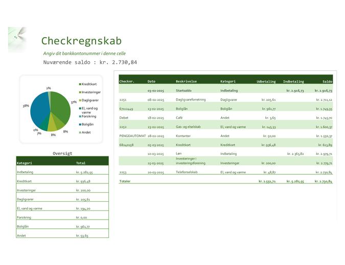 Checkregnskab med diagram