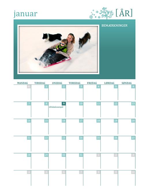 Årstidsbestemt familiekalender (et hvilket som helst år, mandag til søndag)