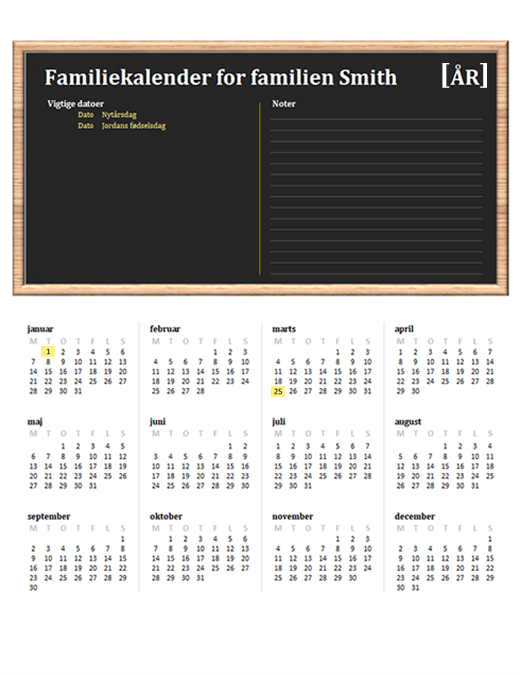 Familiekalender (alle år, man-søn)