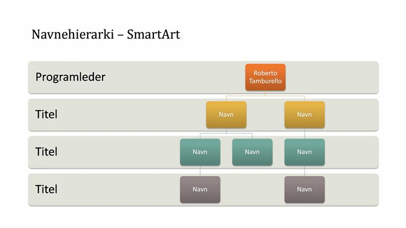 Diagram over organisationshierarki (bredskærm)