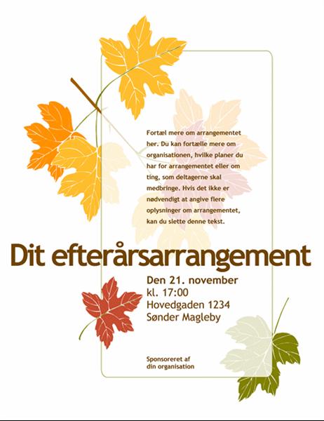 Brochure med efterårsarrangement (med blade)