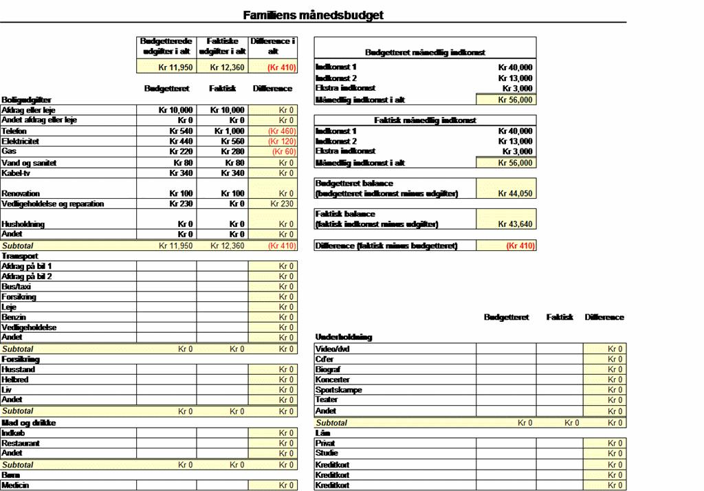 Familiens månedsbudget