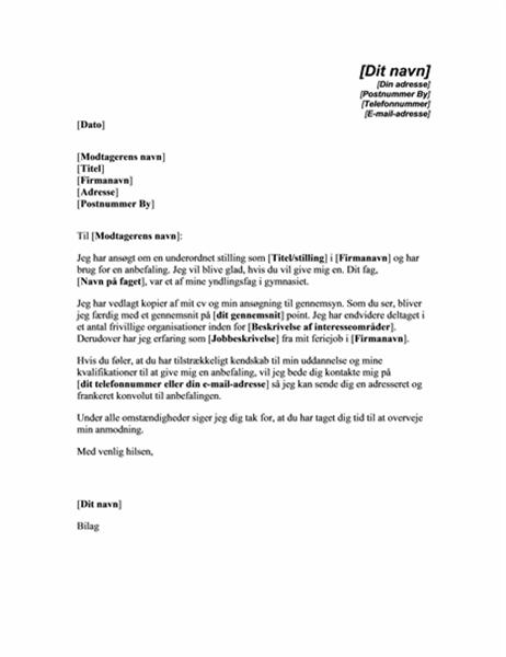 Anmodning om anbefaling fra en tidligere lærer