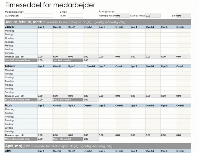 Timeseddel for medarbejder (daglig, ugentlig, månedlig og årlig)