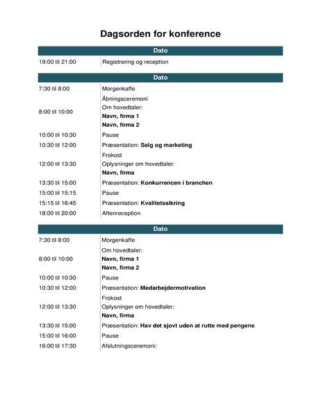 Dagsorden for konference