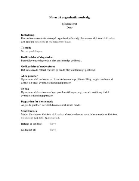 Mødereferat for organisationer (længere formular)