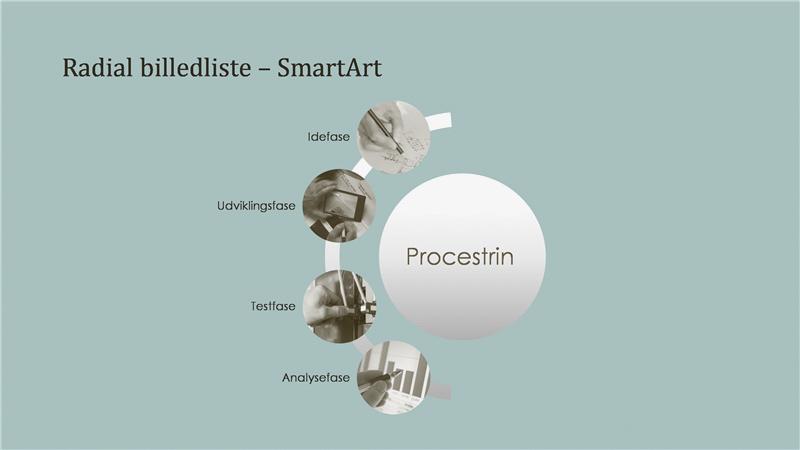 Behandle SmartArt med lister med radialbilleder (bredskærm)