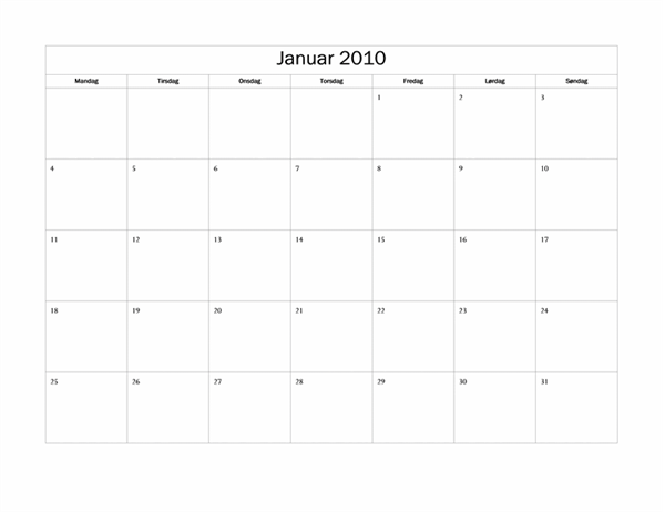 Kalender for 2010 (grunddesign, man-søn)
