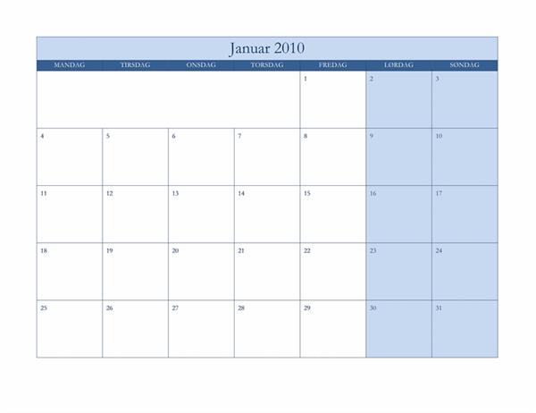 Kalender for 2010 (klassisk blåt design, man-søn)