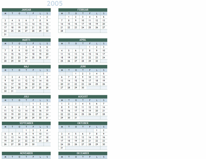2005-2014 årskalender (man-søn)