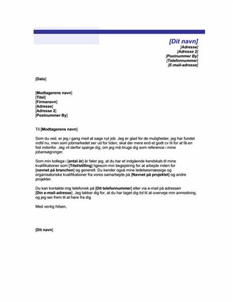 Anmodning om anbefaling fra en kollega (temaet blå linje)