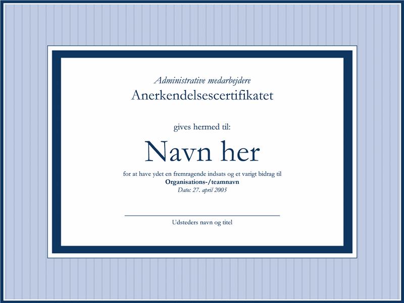 Certifikat som takkekort til en administrator