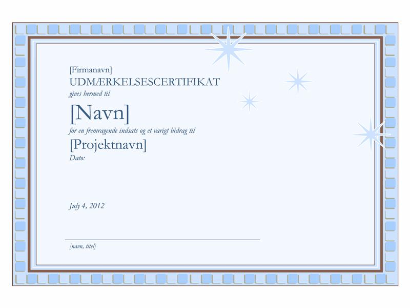 Udmærkelsescertifikat