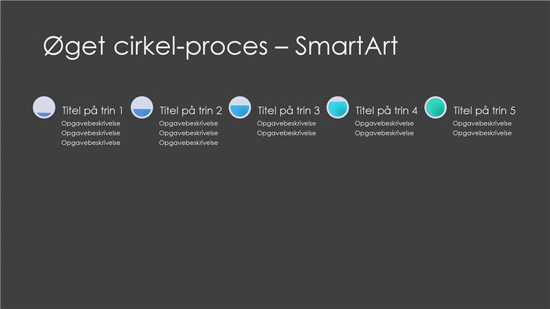 Øget cirkel-proces SmartArt-slide (grå og blå på sort), widescreen
