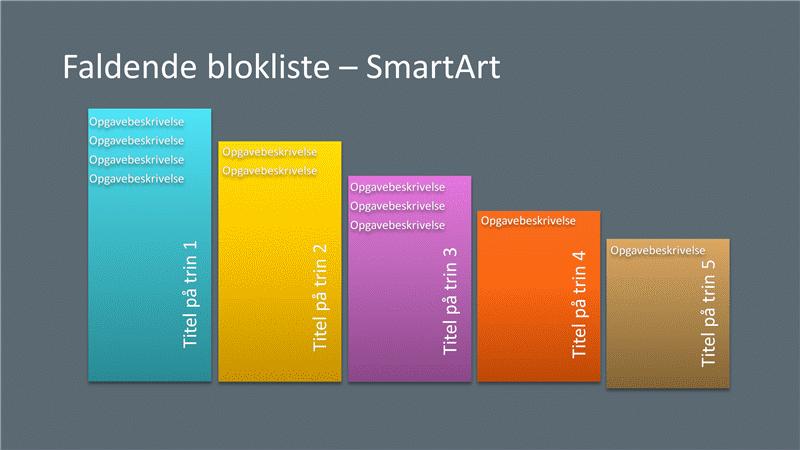 Faldende blokliste SmartArt-slide (flere farver på grå), widescreen