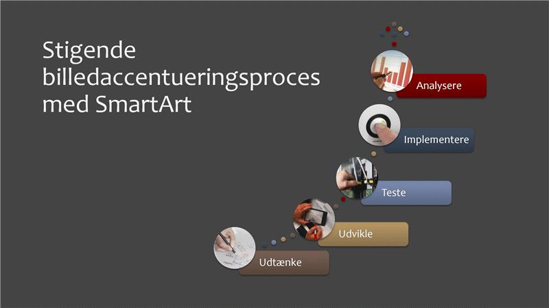 Stigende billedaccentueringsproces med SmartArt (flere farver eller grå), widescreen
