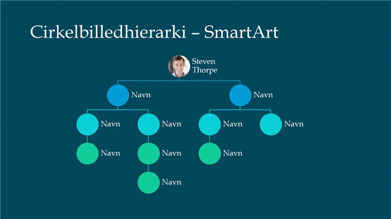 Slide med cirkulære billeder i hierarkiorganisationsdiagram (hvidt på blåt), widescreen