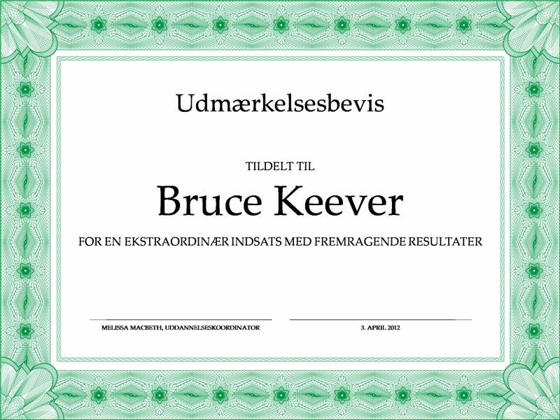 Udmærkelsesbevis (formel med grøn kant)